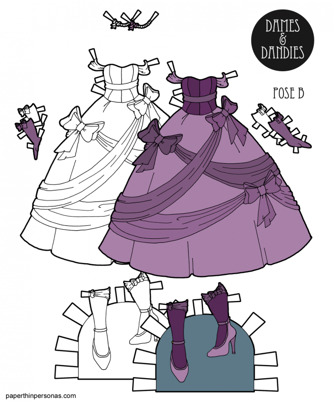 A fantastic bow covered princess ball gown for the paper dolls from paperthinpersonas.com in purple or black and white for coloring with matching gloves, jewelry and shoes.