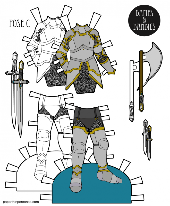 A set of paper doll knight's armor to print and play with for the male paper dolls from paperthinpersonas.com. Great for kid's birthday parties or just fun to color.