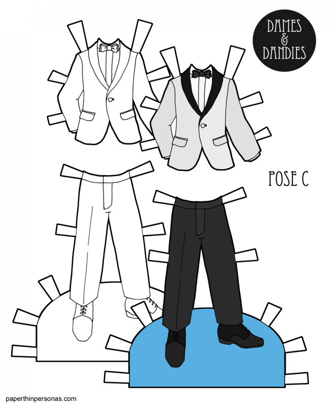 A paper doll tuxedo for the C Pose paper doll men with a white jacket, bowtie and black pants. Also available in black and white for coloring.