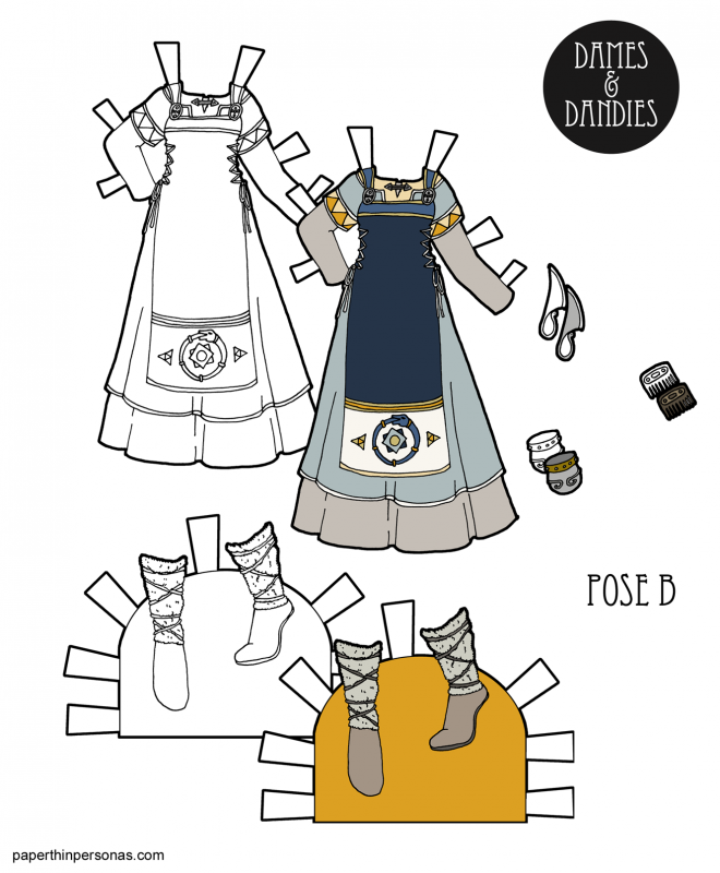 A printable paper doll dress with boots, a comb and knife inspired by Viking apron dresses and Norse mythology. It's free to print in black and white or in color, but it's not very historical.