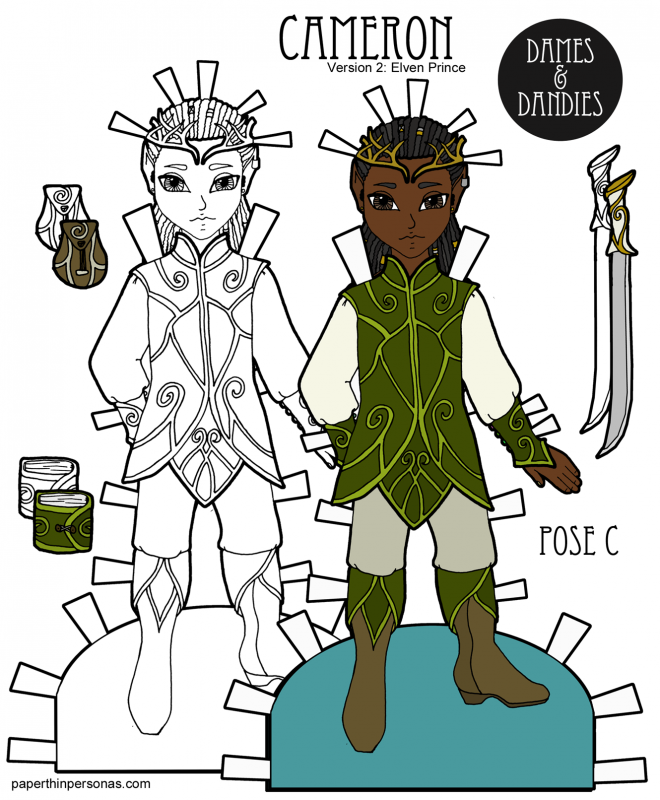 A black elven fantasy prince paper doll with dreadlocks to print and play with from paperthinpersonas.com.