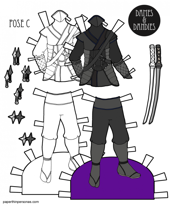 A printable paper doll ninja costume design from paperthinpersonas.com.