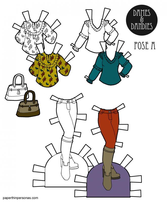 A set of autumn dress up doll fashions with a blouses and boots. Free to print in color or black and white as a coloring page.