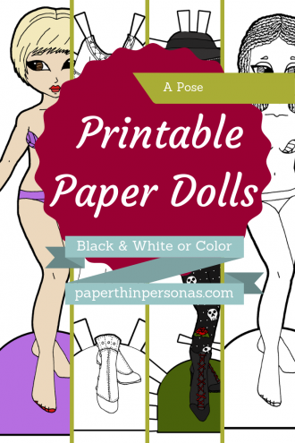 Dozens of different paper dolls to print in color or black and white from paperthinpersonas.com. Historical, Fantasy, or Contemporary, there's all sorts of designs and styles.