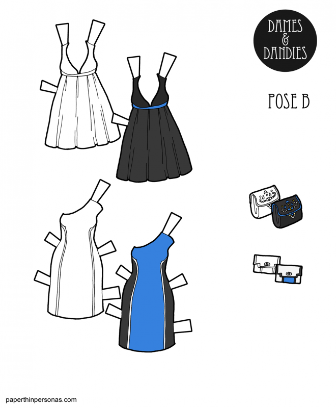 A pair of paper doll cocktail dresses to print and dress up the paper dolls in for all the paper doll parties they might need to attend.