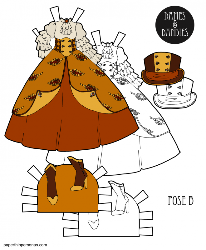 This Princess dress design for the paper dolls features buttons, autumn motifs and colors. There's a steampunk princess element as well with the top hat and boots. You can also print it in black and white for coloring if you wish.