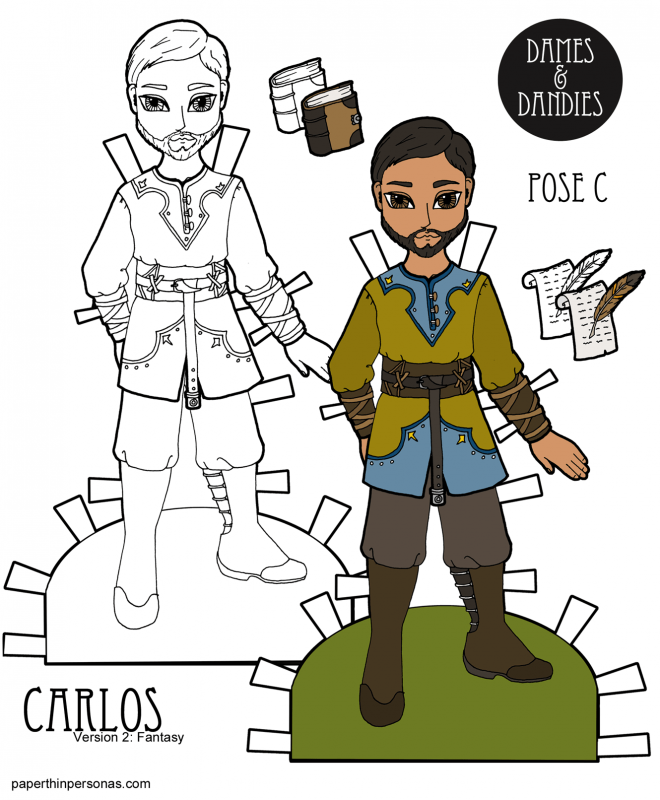 A paper doll man with a medieval inspired fantasy outfit to print in color or black and white for coloring. A great rainy day activity for kids.