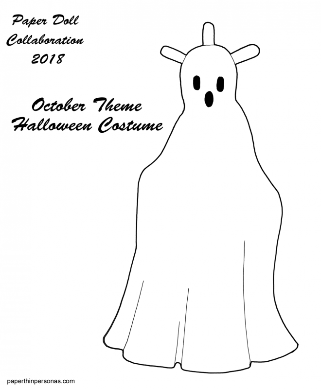A ghostly paper doll costume to color for the paper doll collab project 2018.