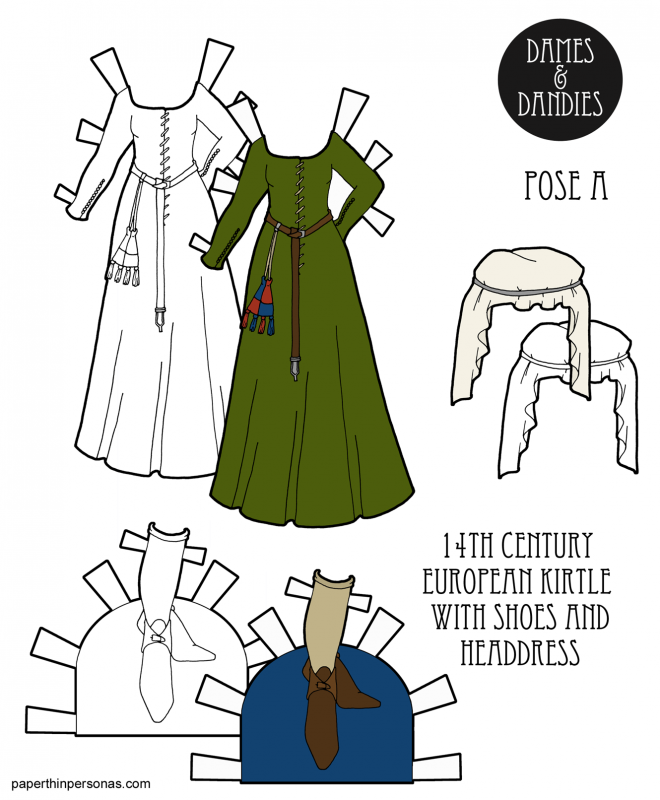 A 1300s kirtle for a paper doll with matching shoes and headdress from paperthinpersoas.com. A great way to teach kids history and a super fun coloring activity.