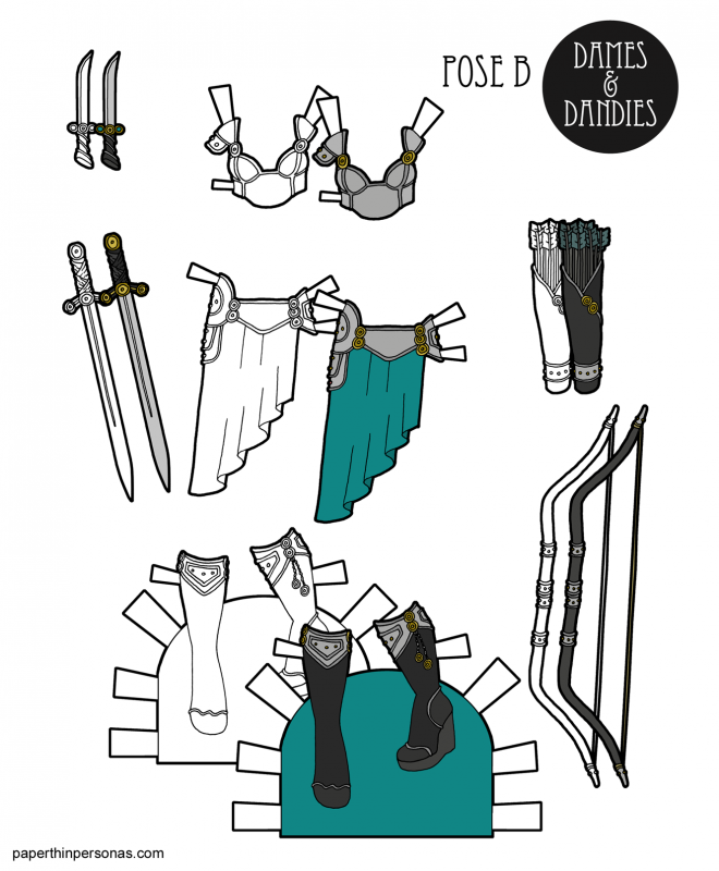 Pulpy fantasy armor for the printable paper doll with boots and a bow. Printable in color or black and white.