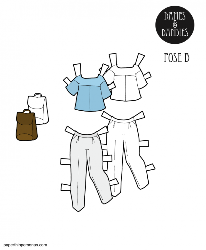 Minimalist fashion paper doll clothing for the B Pose printable paper dolls from PaperThinPersonas.com. A blouse, pants and bag.