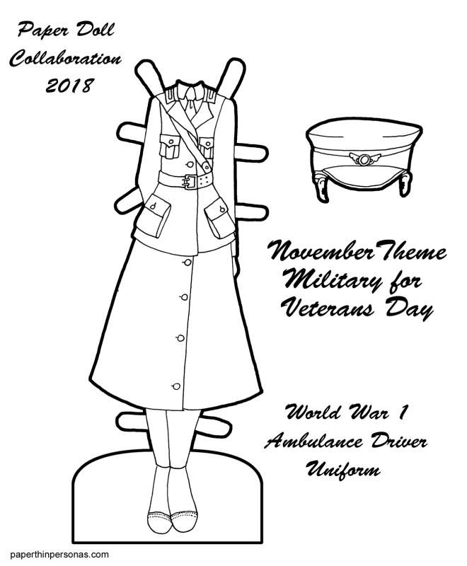 A paper doll coloring page featuring a World War 1 ambulance driver uniform from the Women's Motor Corps of America. A great kid's history activity or homeschooling printable for World War 1 history.